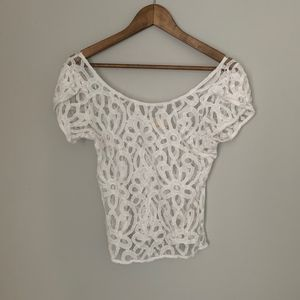 Pins And Needles Anthropologie White Lace Top